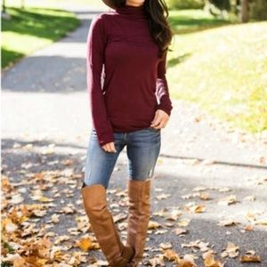 Sweaters - Burgundy turtle neck top